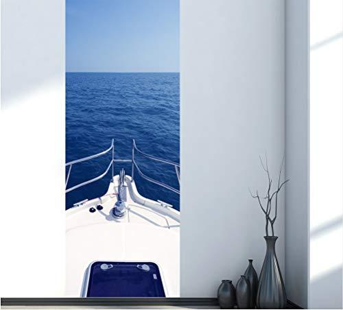 KUANGJING Hause Kreative DIY 3D Tür Aufkleber Motorboot Yacht Muster für Kinderzimmer Tür Wohnkultur Zubehör Wandaufkleber 80X200 cm
