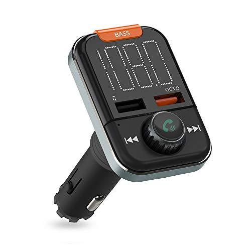 Bluetooth FM Transmitter, ZeaLife Auto Radio Adapter QC 3.0 KFZ Wireless FM Transmitter Freisprecheinrichtung Car Kit mit Bass Boost und 3.5mm Aux Dual USB Ladegerät Unterstützt USB Stick