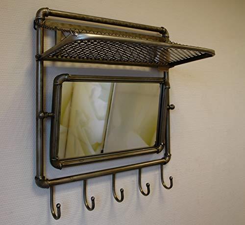 Vintage Wandgarderobe aus Metall mit Spiegel und Ablage