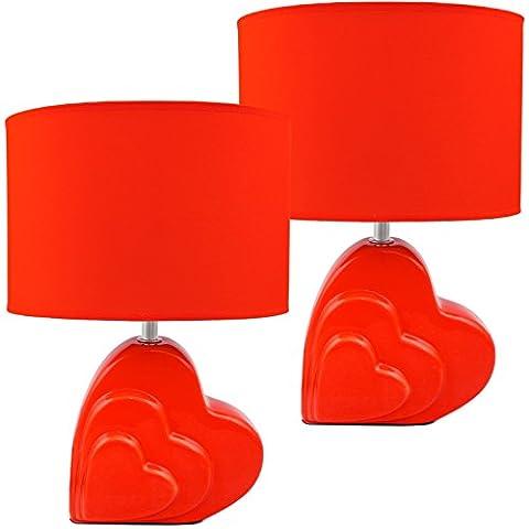 BRUBAKER 2er Set Keramik Tischlampen Herz 34,5 cm rot
