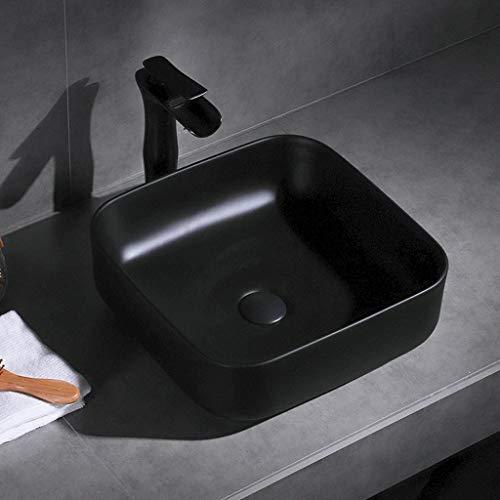 Ping Bu Qing Yun Badezimmer-Eitelkeit, quadratisches Keramik Aufsatzbecken nach Hause Bad Kunst Einzelbecken (ohne Hahn), 2 Größen erhältlich Schiff sinkt versenken (Size : 39X39X13.5cm) -
