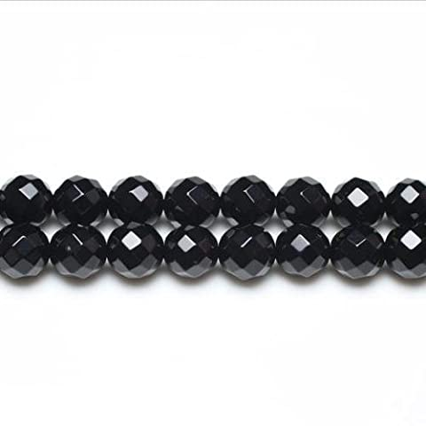 Strand Of 95+ Black Onyx 4mm Faceted Round Beads - (GS3373-1) - Charming Beads