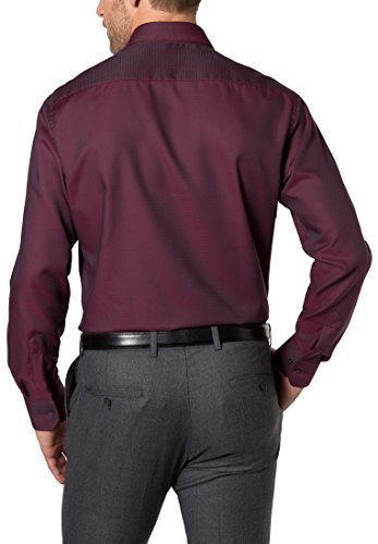 Eterna Long Sleeve Shirt Modern Fit Twill Structured Rosso/Blu