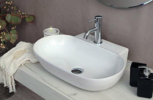 Yellowshop - lavabo da appoggio o sospeso cm 57 x 40 bacinella lavandino lavello in ceramica bianco sanitari bagno design moderno modello swing
