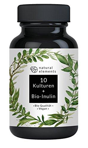 Probiotika Kapseln - Einführungspreis - Bio Qualität - 10 probiotische Kulturen - Mit Präbiotika (Bio Inulin) - 20 Milliarden KBE - Hochdosiert, vegan und hergestellt in Deutschland