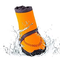 DYHM dog boots Pet Dog Winter Warm Snow Booties Waterproof Anti-Slip Protective Shoes Boot Orange Rubber Rain Shoes For Small Dogs Pet #666