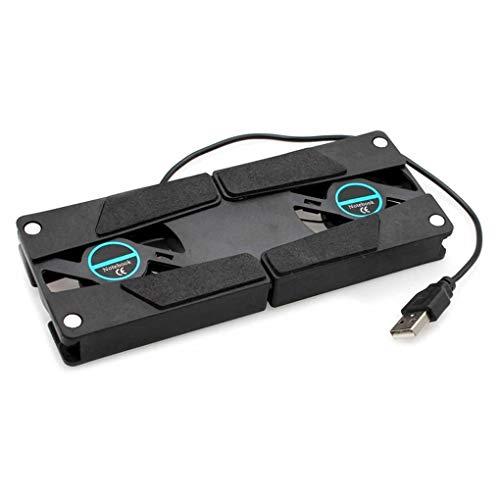 Laileya Laptop Desk-Unterstützung Dual-Lüfter Notebook-Computer-Standplatz Faltbare USB-Rack-Halter Schwarz