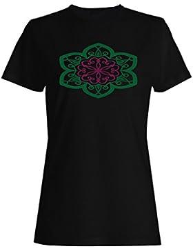 Mandala Más Verde camiseta de las mujeres n335f