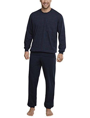 Schiesser Herren Zweiteiliger Schlafanzug Anzug Lang M. Bündchen Blau (Dunkelblau 803)