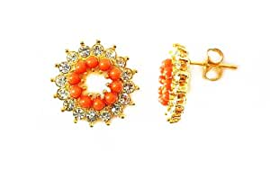 Johnny Loves Rosie Gold Plated Circle Coral Earrings with Diamante Detail