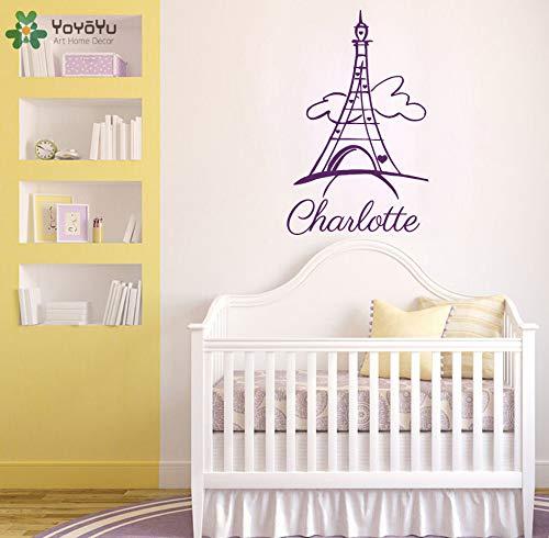 zhuziji Eiffelturm Personalisierte Name Wandaufkleber Für Kinderzimmer Abnehmbare Benutzerdefinierte Name Mädchen Schlafzimmer Vinyl Wohnkultur Paris Di 42x67 cm
