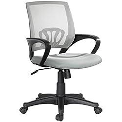 Sedia reclinabile girevole scrivania regolabile con braccioli poltrona grigia