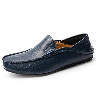 YIRUIYA Herren Halbschuhe Robust Fahrschuhe Mokassin Freizeitkleidung Business Schuhe zum Fahren Blau, 43.5 EU