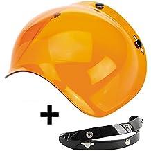 Visera flip-up universal tipo burbuja de color naranja. Ideal para cualquier casco jet con sistema de 3 botones: Biltwell, Bell, DMD, Bandit, Yam, AFX, Nolan, AGV, etc - Mecanismo abatible incluido