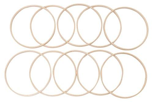 Elbesee Innen-Ringe für Stickrahmen, Holz, Braun, 15cm Durchmesser, 10mm Dick, 10Stück