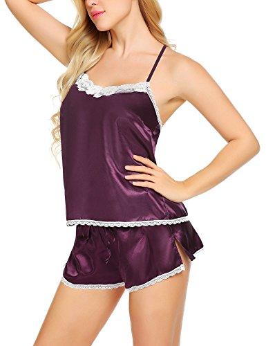Meaneor_Fashion_Origin Damen Satin Nachthemd Sexy Dessous Set Nachtwäsche Negligee Babydoll Zweiteilige Reizwäsche Lingerie Sleepwear Set mit Shorts Lila S
