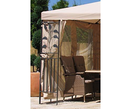 GRASEKAMP Qualität seit 1972 4 Seitenteile zu Blätter Pavillon 3x4m mit Moskitonetz Sand