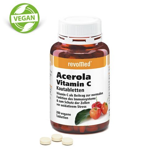 Vits Kautabletten (Acerola Vit. C Kautabletten mit natürlichem Vitamin C aus der Acerola-Kirsche für ein gesundes Immunsystem)