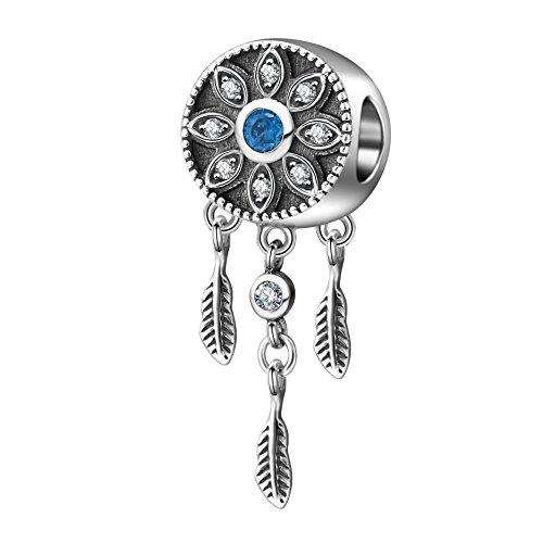Acchiappasogni pendente di cristallo fiore piuma perline per braccialetti charm in argento 925