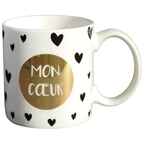 Draeger - Mug Original - Tasse À Thé à Offrir en Cadeau à Vos Proches - Tasse À Café en Porcelaine Fine - 350 ML 8 cm de diamètre x 8,5 cm de Hauteur Mon cœu