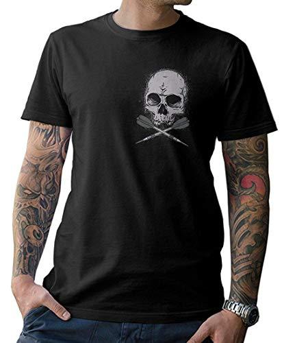 Darts Skull T-Shirt mit Front- und Rückenprint im angesagten Totenkopf-Design Gr. S-5XL (Darts T-shirts)