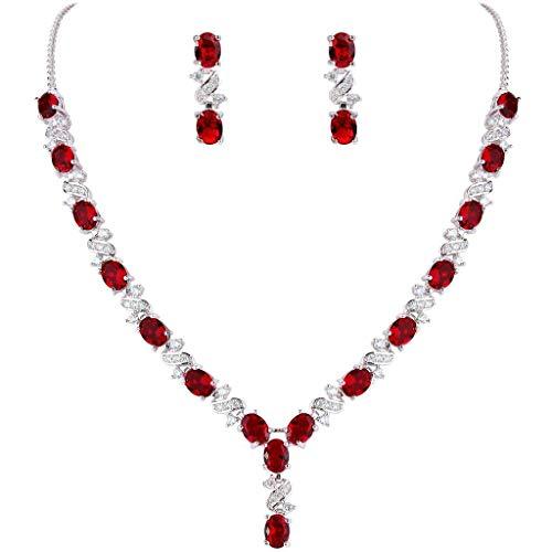 Clearine Damen Elegant Delicate Cubic Zirconia Unendlichkeit Y-Form Halskette Dangle Ohrringe Set Rubin Rot
