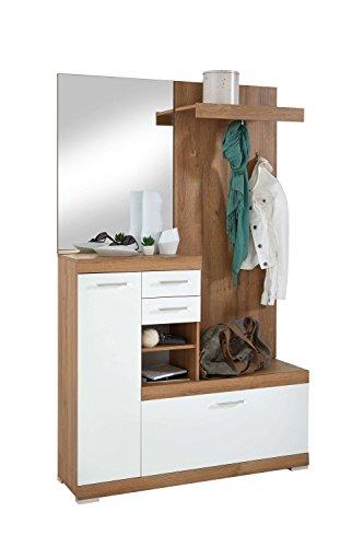 Avanti trendstore - bristo - guardaroba completo con specchio, panello e scarpiera, in legno laminato con ante in bianco lucido, disponibile in 2 diversi colori, dimensioni: lap 120x193,5x35,5 cm