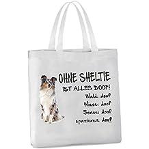 """Einkaufstasche """"Ohne Sheltie ist alles doof!"""" 45x42cm Shetland Sheepdog BLUE-MERLE Hund Tragetasche Einkaufsbeutel"""