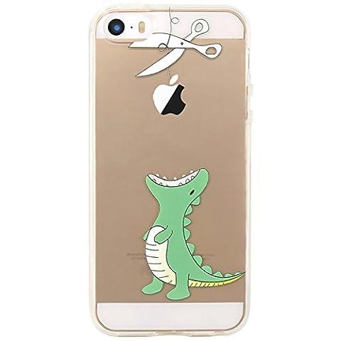 JIAXIUFEN Neue Modelle TPU Silikon Schutz Handy Hülle Case Tasche Etui Bumper für Apple iPhone 5 5S SE- Amüsant Wunderlich Design Hungrigen Krokodil