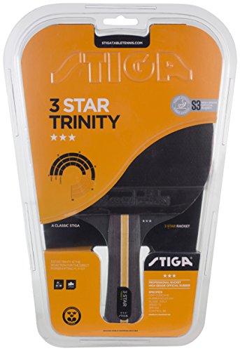 Stiga 3-Star Trinity, Concave Racchetta da Ping Pong, Nero/Rosso, Taglia Unica