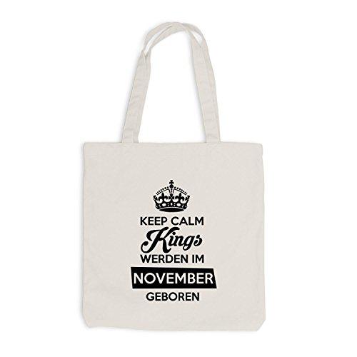 Jutebeutel - Keep Calm Kings werden im November geboren - Birthday Geburtstag Beige