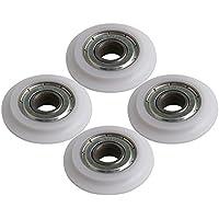 Yibuy Polea de rodamiento de Bolas de Acero Recubierto de plástico para Puerta (4 Unidades, 33 x 8 x 8 mm)