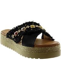 62476931d04ff Angkorly Chaussure Mode Mule Sandale Slip-on Plateforme Femme Bijoux  Effiloché Corde Talon Compensé Plateforme