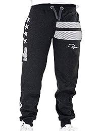 Redrum Jogginghose Sweatpants Sport Hose Baumwolle Anthrazit Grau Dunkel Streifen Zahl Sport Modell Goetze