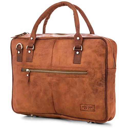 Aktentasche Leder Berliner Bags Madrid Laptoptasche 15 Zoll Businesstasche Umhängetasche Handtasche Vintage Braun Herren Damen Groß X