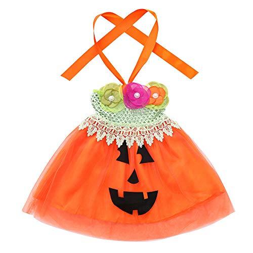 URSING Halloween Kleidung Kinder Kinder Mädchen Ärmellos Blumen Kürbis Drucken Tutu-Kleid Bekleidungssets Schöne Niedlich Tutu Tanzen Weihnachten Outfits Gemütlich Babymode