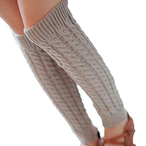 Sannysis Mujeres elástico Puños Botas Calcetines De Punto Tejer Calcetines Largos (Gris Claro)