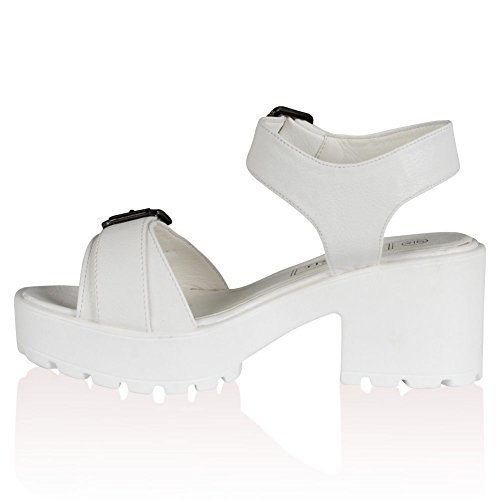 Mesdames Mid Sangle Cheville Talons Hauts Fête bretelles femmes Summer Sandales Chaussures Taille Blanc - White Faux Leather Buckle Cleated Sandals