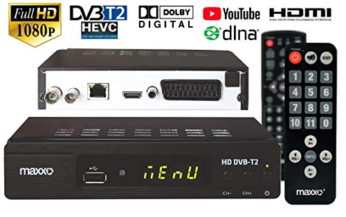 Maxxo T2 Set-top-Box-Empfänger DVB-T/T2 + Fernbedienung FÜR SENIOREN, H.265 (HEVC), Full HD