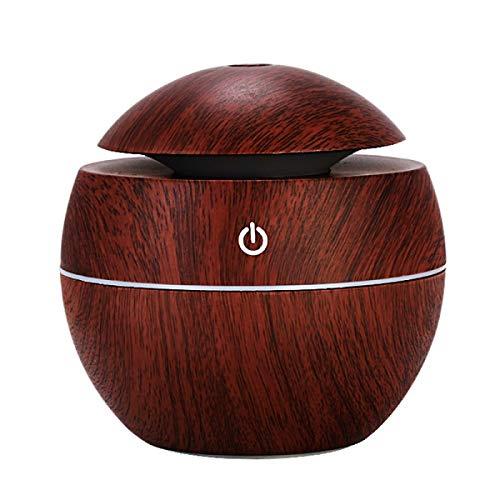 USB Holzmaserung Ätherisches Öl Diffusor 130ml Ultraschall Luftbefeuchter Haushalt Aroma Diffusor Aromatherapie Nebelhersteller mit LED (Mushroom Dark Wood) -
