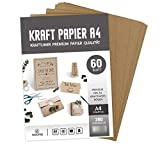 ABSOFINE 60 Blätter Kraftpapier DIN A4 Kraftkarton 260g/m² Qualität Naturkarton in Hochwertiger Qualität Kraftkarte Recy