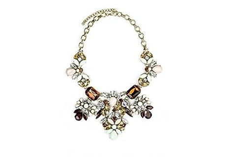 Collier plastron pour femme Floral Cristal Pastel Statement Bijoux Pendentif