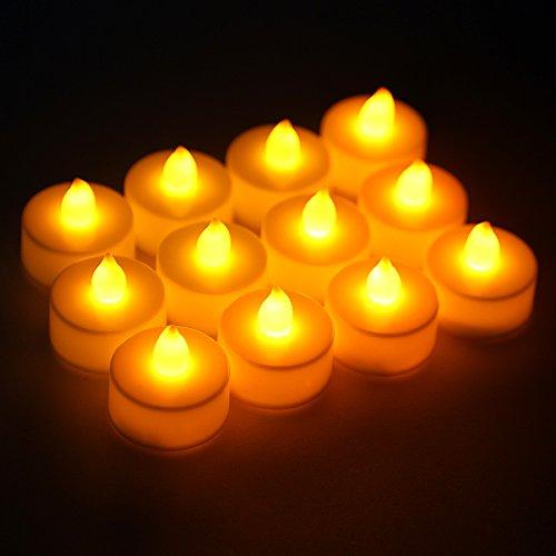 TKOOFN 12 Unidades Mini Velas Decorativas de LED Funciona con Baterias Luces para Fiestas Navidad Decoración Boda Hogar