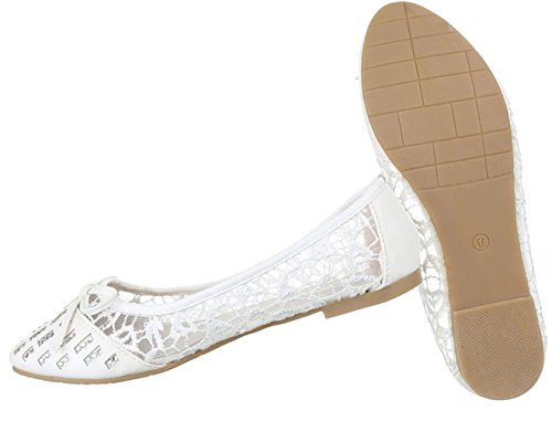 Damen Ballerinas Schuhe Loafers Slipper Slip-on Flats Strass Besetzte Pumps Schwarz Weiß Rosa 36 37 38 39 40 41 Weiß