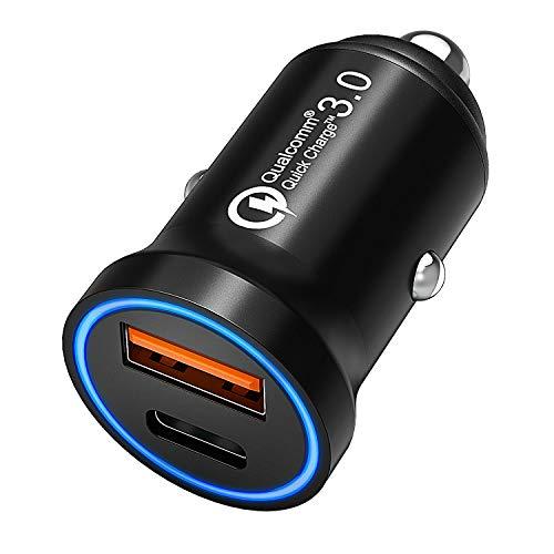 CHGeek USB C Auto Ladegerät, 12V/24V KFZ Ladegerät 36W Quick Charge 3.0 2-Port Auto Zigarettenanzünder Mini Adapter mit Power Delivery Schnellladung für Smart Phones und mehr - CH36 - Usb-ladebuchse 12v