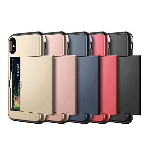 BOOSSONGKANG Handyhülle Phone Cases for iPhone X XS Max XR Case Slide Armor Wallet Card Slots Holder Cover for iPhone 7 8 Plus 6 6s 5 5S SE,for iPhone XS Max,Rose Gold (Drivers Door Panel Side Interior)