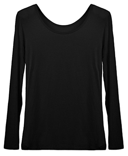 Smile YKK Femme Tops Madal Shirt Elastique Uni Noir