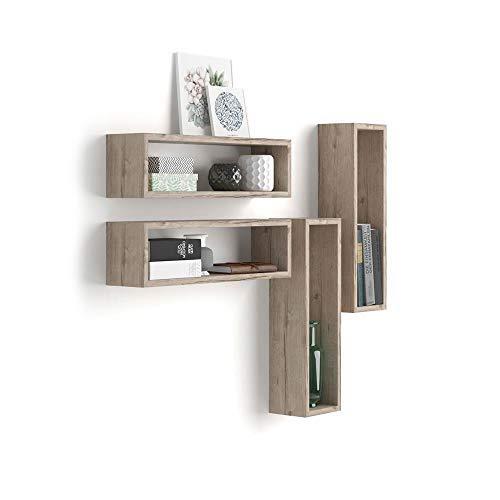 Mobili fiver, set di 4 cubi da parete iacopo, quercia, 59 x 14,5 x 17 cm, nobilitato, made in italy, disponibile in vari colori