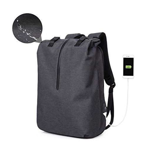 Wasserdicht Business Laptop Rucksack 15,6 zoll für Damen & Herren - Cornasee Roll Top Rucksack Tagesrucksack mit USB-Anschluss,schwarz