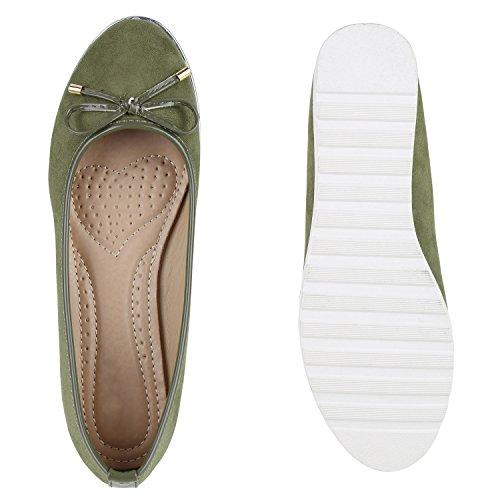 Damen Slipper Loafers Lack Metallic Schuhe Flats Profilsohle Olivgrün Velours